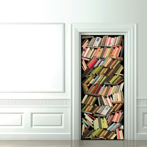 Picture you install on door, to make it look like your closet is stuff with books