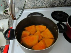 Pumpkin chunks boiling in water