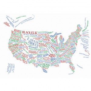 Map of US, with names of authors local to each region
